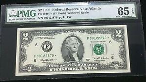 """Fr.1936-F* 1995 ATLANTA $2 FRN PMG 65EPQ """"FOO"""" STAR NOTE F00122879* ~ .99c START"""