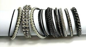 Vintage Statement Bangle Bracelet Lot of 20 Black White Silver Chunky Med/Slims
