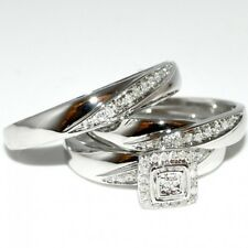His and Her 10K White Gold Fn Wide 2.50 Ct Diamond Bridal Wedding Band Trio Set