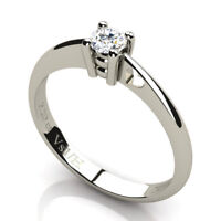 Vs1 / H 0.20 ct Solitaire Diamond Wedding Ring in 18K 750 Solid White Gold NEW