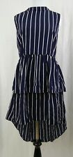 Pink Martini Modcloth Behold the Boldness Striped Dress LARGE Peplum High-Low