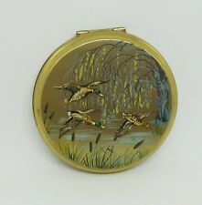 Vintage Stratton Powder Compact Flying Ducks Mallards Bullrushes Willow Tree