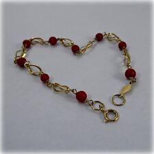 18ct Gold Coral Bead Bracelet