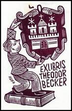 Huffert Hermann X2 Exlibris Bookplate Architecture Heraldry 1169