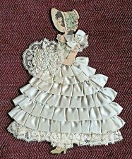 Vintage Ribbon Art Paper Doll Stitched With Ribbon & Laces Very Good Condition