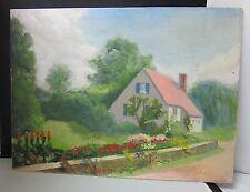 Vintage Oil on Board Painting Signed Noel J Cortes 1941 House & Garden Landscape