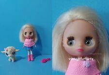 Littlest Pet Shop Blythe Doll Pet Lot Mini Blythe & #186 Lamb Blue Eyes Pink Bow