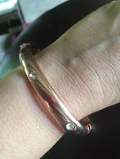 Rose Gold Rhinestone Stone Hinged Bangle Bracelet