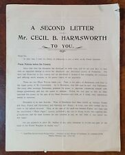 1904 A Second Letter from Cecil B. Harmsworth