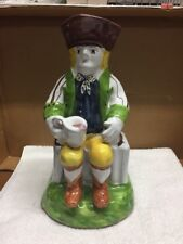 Signed Portugal Pottery Man Sitting With A Cup Figure Pitcher