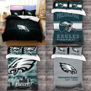 Philadelphia Eagles Bedding Set 3PCS Soft Duvet Quilt Cover Pillowcases US Size