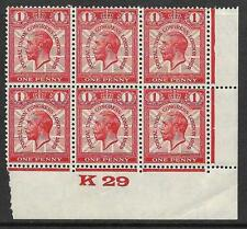 1929 1d PUC Control K 29 block of 6 UNMOUNTED MINT