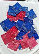 Lot 21 Vintage Bandanas Handkerchiefs Fast Color Cotton Paisley Biker Craft Mask