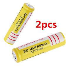 2PCS Li-ion Rechargeable 18650 3.7V 5000mAh Li-ion Battery for Led Flashlight GL
