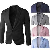 Fashion Mens One Button Suit Coat Casual Dress Slim Fit Blazer Jacket Tops