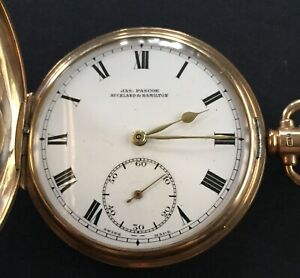 Antiques 9 Ct Solid Gold  Full Hunter  Pocket Watch By Jas.Pascoe Working