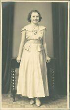 Young Lady   1930s  Dress     barley-twist table       Studio       Ri.308