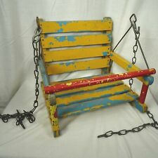 Vintage Childs Wooden Swing Decor Blue Yellow Chippy Paint DISPLAY ONLY