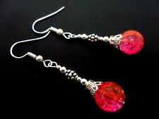 A PAIR OF TIBETAN SILVER PINK/ORANGE CRACKLE GLASS BEAD  DANGLY EARRINGS. NEW.