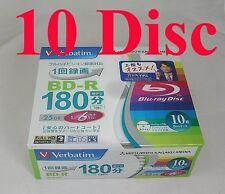 Verbatim blu ray bd r 25gb 4x bluray hd dvd 10 disc Japan