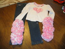 Boutique Lipstik 6X Pink Leopard Cheetah Heart Top Jeans Set Gorgeous