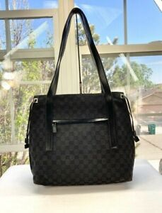 Gucci Womens Black Canvas and Leather Guccissima Large Tote