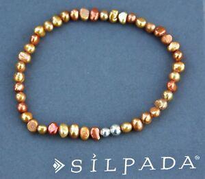 Silpada BRACELET Fresh Water Pearl sterling silver B1369 copper bead stretch