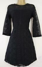 NEXT BLACK OR TEAL LACE SKATER DRESS SIZE 8 - 20 NEW TEA 3/4 SLEEVE