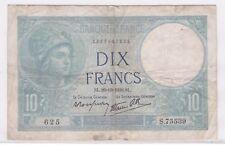 BILLET 10 FRANCS MINERVE SL 26 10 1939 SL 625 S 75539