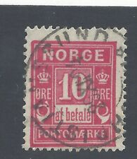 NORWAY 1889 Postage Due  10ö  rosine Used  SG D92