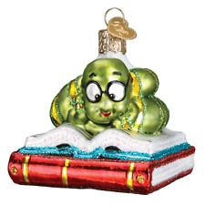 """Bookworm"" (12514) Old World Christmas Glass Ornament w/OWC Box"