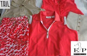 EP Pro & TAIL Golf LOT Size Large Shirts & Size 12 Skorts Coral, Khaki NWOT-EUC!