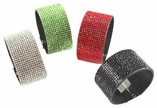 "Wide Crystal Bracelets Magnetic Red, Green, Black & Clear 1.5"" Wide SBF"