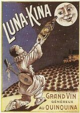 FRENCH VINTAGE POSTER 50x70cm ALCOHOL LUNA KINA QUINQUINA WINE