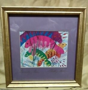 """Betsey Jim Fowler Wild Kingdom Signed Framed """"Family Fun"""" Manatees Watercolor"""