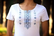 Ukrainian embroidered sorochka, women's t-shirt, vyshyvanka, embroidery, Size L
