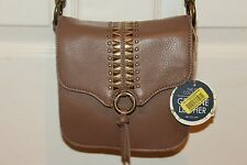NEW NWT SAKROOTS Artists Circle Berry Brave Beauti Tan Leather Camera Xbody Bag