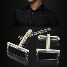 Mens Boys Stainless Steel Business Shirt Silver Enamel Wedding Cufflinks Hot