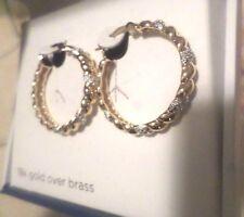 Classic Treasures - Diamond Accent Hoop Braided Earrings - Women