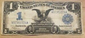 1899 $1 Black Eagle Silver Certificate Speelman White V/A Block Fr 236 App