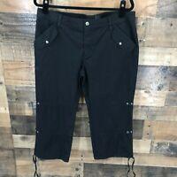 Harley Davidson Women's Black Cropped Drawstring Cuff Pants Cotton Blend Size 14