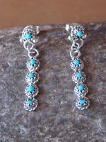 Native American Zuni Sterling Silver Turquoise Dangle Earrings! Naketewa
