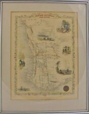 1851 Tallis and Rapkin Map of Western Australia Hand Colored  Engraving Framed