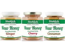 GIFT 12oz Cherry Honey + 12oz Ginger Raw Honey+ 12oz Cinnamon Raw Honey Natural
