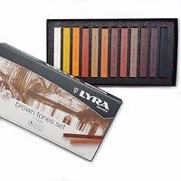 Lyra Brown Tones Set of 12 Fine Art Hard Pastels - Made in Germany