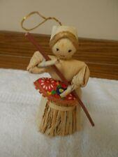 "Vintage 5 1/2"" Cornhusk Doll Girl with String for Hanging"