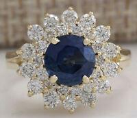 2.70 Carat Blue Sapphire 18K Solid Yellow Gold Over Luxury Diamond Wedding Ring