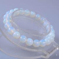 Fashion 8mm White Moonstone Round Gemstone Beads Elastic Bracelet 7.5''