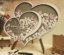 Personalised Wedding Party Guest Book Alternative Wooden Hearts Drop Jar Box