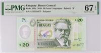 Uruguay 20 Pesos 2020 P 101 a Polymer Superb Gem UNC PMG 67 EPQ High